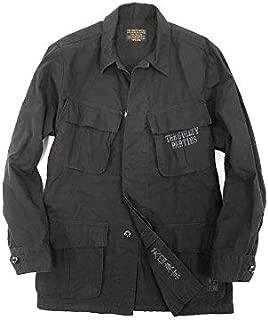 [ワコマリア] GUILTY PARTIES FATIGUE JACKET リップストップ プリント ファティーグ シャツ ジャケット S ブラック ka20180716-11 メンズ