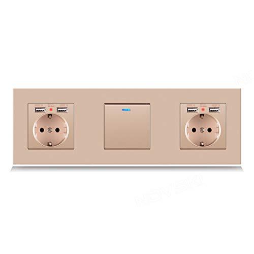 Interruptor de enchufe de pared alemán USB de 1 unidad con LED, interruptor de enchufe eléctrico triple 16A gris con conexión a tierra pc panel gold 12 110-250V 2