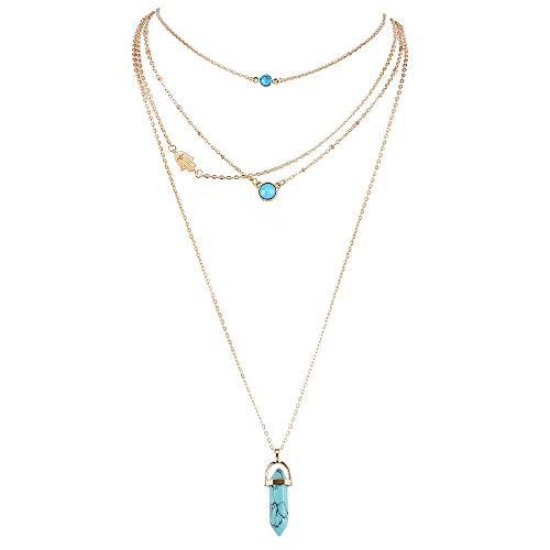 Xynhed Blaue sechseckige Spalte Lange Halsketten mehrschichtige natürliche Kristallstein-hängende Ketten-Halskette für Frauen-Schmucksachen