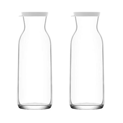 Wasserkaraffen Glaskaraffen 1,2 Liter Glaskanne aus Glas mit Silikondeckel, 2 Stück (Weiß)