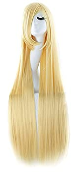 MapofBeauty 40  100cm Anime Costume Long Straight Cosplay Wig Party Wig  Blonde