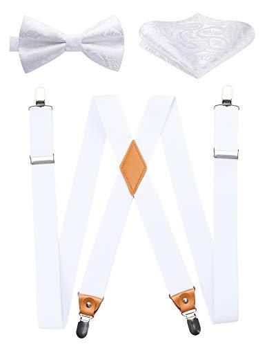 ヒスデン(HISDERN) 白 サスペンダー X型 幅35mm 男女兼用 サスペンダー 蝶ネクタイ チーフ 3点セット ホワイト ズボン吊り 紳士用 ホルスター 結婚式 ビジネス カジュアル フォーマル SXF4015WPS3
