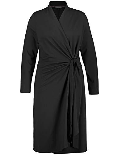 Samoon Damen Kleid mit Wickel-Optik figurumspielend, tailliert Black 48