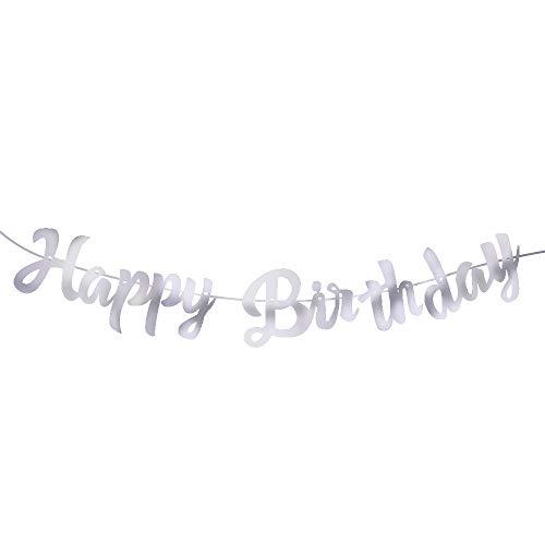 Alles Gute zum Geburtstag Banner, an der Wand Happy Birthday Papiergirlande Girlanden für Boy Girl Partydekorationen - 5 M (ohne Hut, Silber)