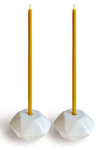 Set of 2 Small White Ceramic Candleholders for Votprof Slim Taper Candles, Durable, Modern Design