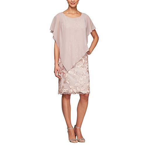 Alex Evenings Women's Short Popover Dress, Pale Pink, 6