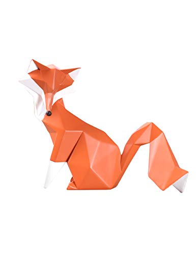 Amoy-Art Skulptur Fuchs Geometrisch Figuren Handgefertigte Dekoration Premium Geschenk Souvenir Geschenkbox Sichere Farbe für Kinder Statue Tier Polyresin 20cmL