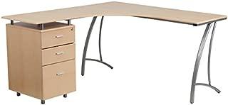 Flash Furniture Beech Laminate L-Shape Desk with Three Drawer Pedestal