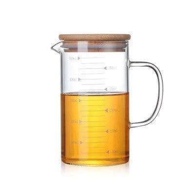 YLJYJ 350/500/1000 ml Teteras medidoras de Vidrio de borosilicato Resistente al Calor Tazas de Jugo de Frutas Botella de Agua con Tapa de bambú (Juego de té)