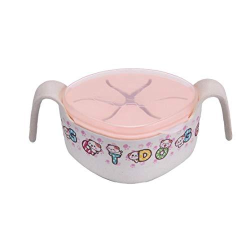 hong Wu Baby-Bowl-Bambusfaser-fütterung Saug-Schale Mit Stroh Und Abdeckung Baby-fütterung-kochgeschirr Für Das Lernen Eatting Rosa