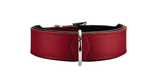 HUNTER BASIC Hundehalsband, beschichtetes Spaltleder, Kunstleder, schlicht, robust, witterungsbeständig, 60 (M-L), rot