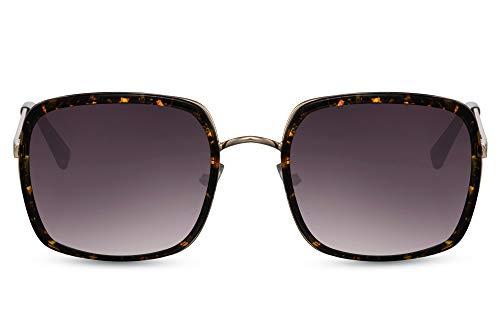 Cheapass Gafas de sol Sunglasses estilo cuadrado de metal dorado con montura especial impresa alrededor de las lentes de gradiente oscuro con protección UV400 para mujer