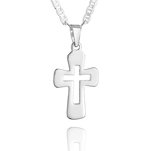 Fish - Collar para niña o niña, plata auténtica, colgante de cruz, longitud ajustable, joya, idea regalo para niños