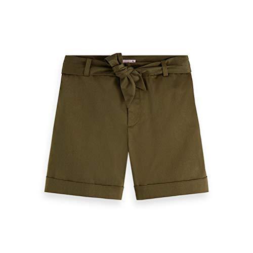 Scotch & Soda Maison Damen Merzerisierte Chino Shorts, Grün (Military 0360), W29(Herstellergröße: 29)