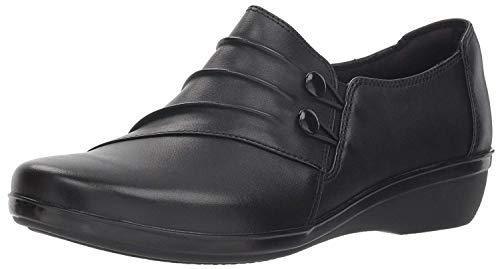 Clarks Women's Everlay Romy Loafer, Black Leather, 6.5 W US