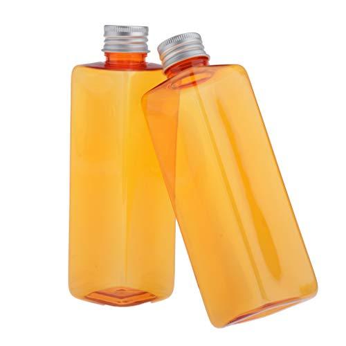Toygogo 2pcs 250ml Rechargeable Vide en Plastique Cosmétique Bouteilles avec Bouchon à Vis Flacon Lotion Gel Douche Shampooing Conteneur - Orange