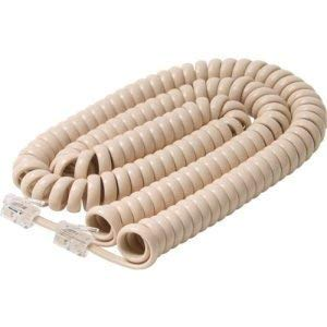 50 Foot Long Handset Curly Cord Ivory Premium Telephone Cable Cord