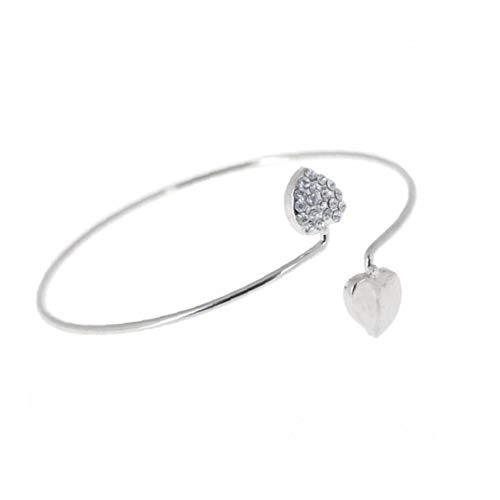 Odoukey Pulsera Abierta Exquisito Cristal Doble corazón de señora Girl Brazalete de Plata de Moda para la Fiesta