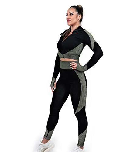 FluidFit - Conjunto de sujetador deportivo para gimnasio, yoga, para mujer Negro y verde. S