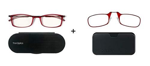 Set van 2 ThinOptics Leesbrillen - Rode Frames 2.5 Kracht - Leesbril 2.5 met Cases x2 Pack – Leesbrillen voor mannen en vrouwen - Bevat 2 paar Leesbrillen +2.5