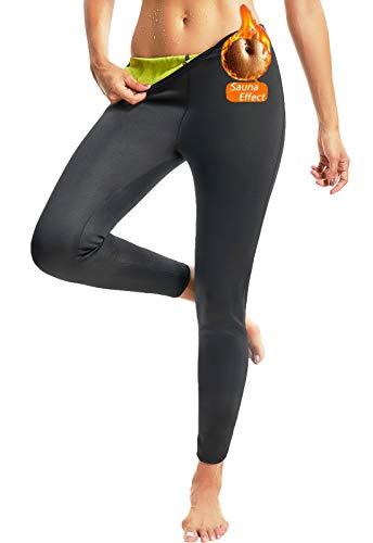 FITTOO Women Neoprene Thermo Sweat Sauna Suits Weight Loss Hot Yoga Pants Fat Body Burner Black Yellow M