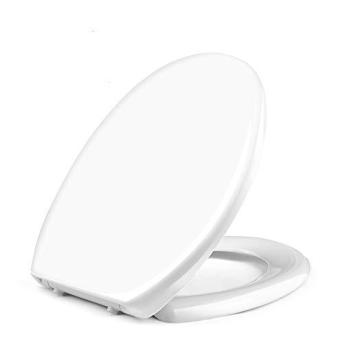 WC Sitz, HIMIMI Premium Toilettendeckel O Form mit Absenkautomatik, Antibakterieller Klodeckel aus Urea-Duroplast Material, mit Edelstahlscharnier & Quick-Release Funktion für Leichte Reinigung