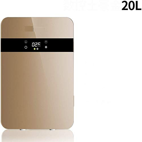 LLYU Auto-koelkast, 20 l mini-koelkast, voor thuis, slaapzaal, auto, dual use-verwarming, draagbare mini-compacte koelkast goud