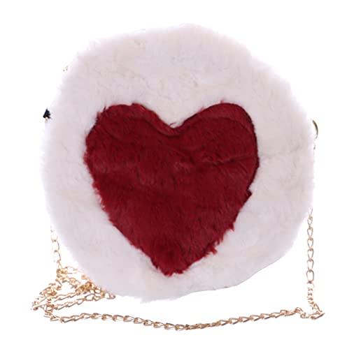 Kawaii-Story Faux-Fur LB-7044-3 - Borsa a tracolla da donna, motivo a cuore, colore: Bianco/Rosso