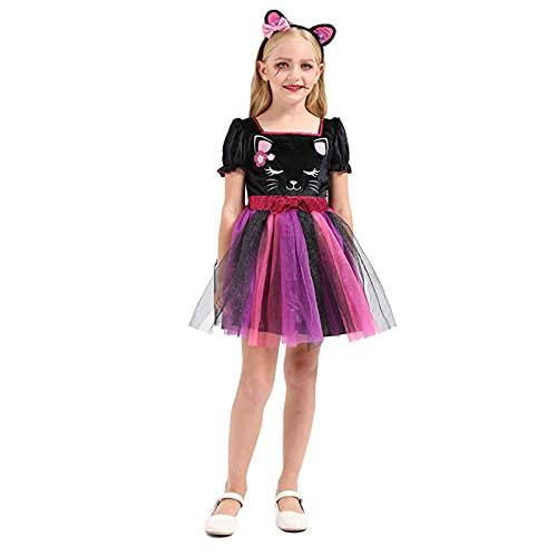 Lihuzmd Disfraz de Bruja de Gato de Terror para niña de Halloween Disfraces de Halloween para niños Accesorios de Vestir Bruja Disfraz de Bruja Linda Juego de Lujo para niñas,S