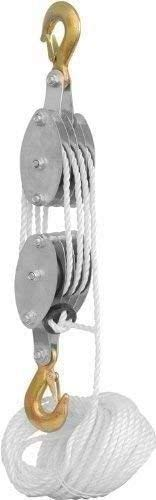 POWHILL 4000LB Poly Rope Hoist Pulley Block and Tackle Rope with 7:1 Lifting Power, 2 Ton 65 Feet of 3/8'
