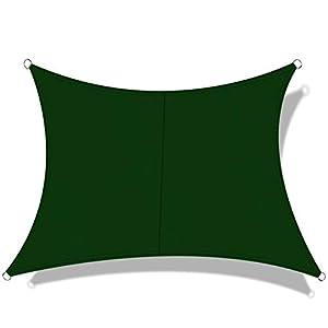 OKAWADACH Toldo Vela de Sombra Cuadrado 3 x 3 m, protección Rayos UV Impermeable para Patio, Exteriores, Jardín, Color Verde Oscuro