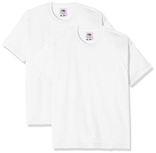 Fruit of the Loom Jungen Kids Valueweight Short Sleeve T 2 Pack T-Shirt, Weiß (Weiß Weiß), 7-8 Jahre (2er Pack)