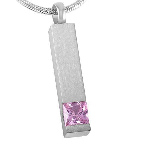 KBFDWEC Colgante de Cristal con Barra de cremación para Mujer, Colgante de urna de Recuerdo de Cenizas conmemorativas de Acero Inoxidable para Mujer