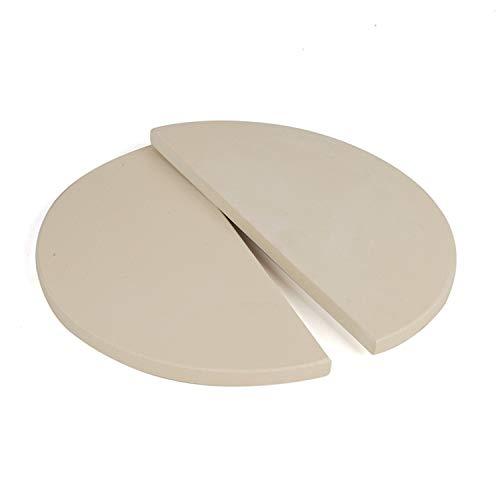 YNNI KAMADO TQHMPS38 38 cm par (2) extra gruesas de alta temperatura media luna pizza piedras para barbacoa 38 cm TQHMPS38