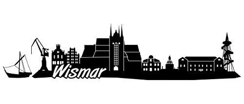 Samunshi® Wismar Skyline Wandtattoo Sticker Aufkleber Wandaufkleber City Gedruckt Wismar 120x29cm schwarz