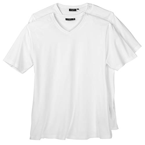 Kitaro Doppelpack V-Neck T-Shirts Übergröße weiß, XL Größe:4XL