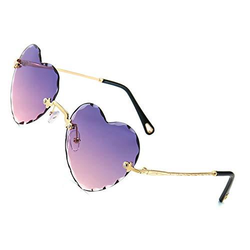 OGOBVCK a forma di cuore gli occhiali da sole di moda rimless lenti donne ragazza gradiente occhiali colorati (PinkPurple)