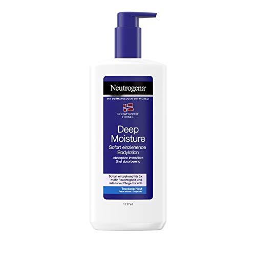 Neutrogena Norwegische Formel Deep Moisture Bodylotion, sofort einziehende Körperlotion für 24h intensive Feuchtigkeit, (3 x 400 ml)