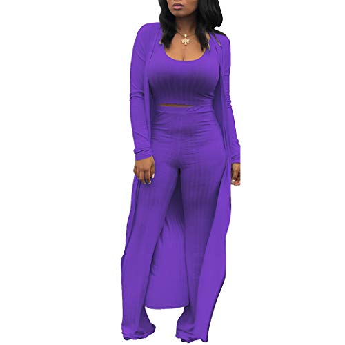 Women's Tracksuit Winter Autumn Knitted Long-sleeved Blazer Coat Tank Long Pants Three Piece Sets Outfit Purple