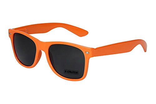 X-CRUZE 8-010 - Gafas de sol nerd retro vintage unisex hombre mujer gafas nerd - naranja