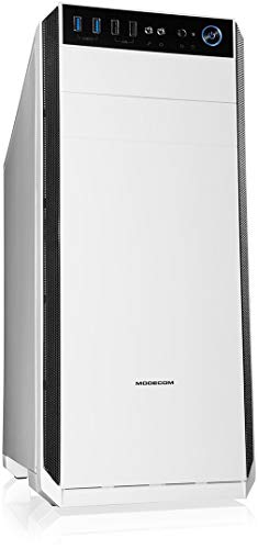 Modecom Oberon Pro Midi-Tower Weiß - Computer-Gehäuse (Midi-Tower, PC, Weiß, ATX,ITX,Micro ATX, Heimbüro, 16,3 cm)