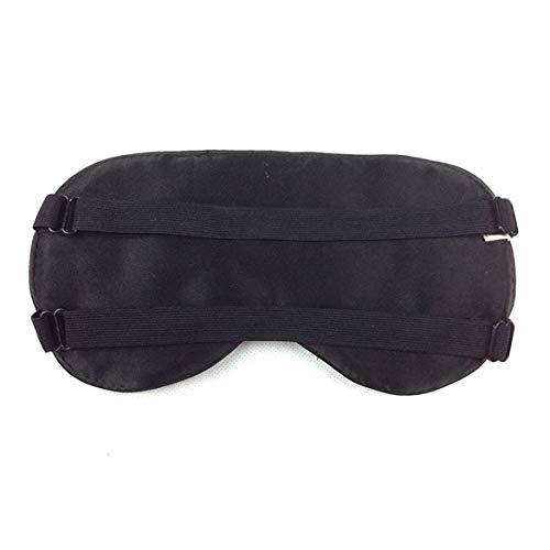 Máscara de seda suave para dormir para dormir Banda elástica doble Vendaje Cubierta para sombra de ojos Parche para los ojos Vendas para la oficina de viajes de vuelo (Negro)