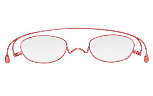 [薄型老眼鏡ペーパーグラス]ベーシック「オーバル」レッド(+2.00)おしゃれ携帯用ケース付き財布に入る老眼鏡栞(しおり)型リーディンググラスメンズレディースギフト鯖江1年間保証001RE200