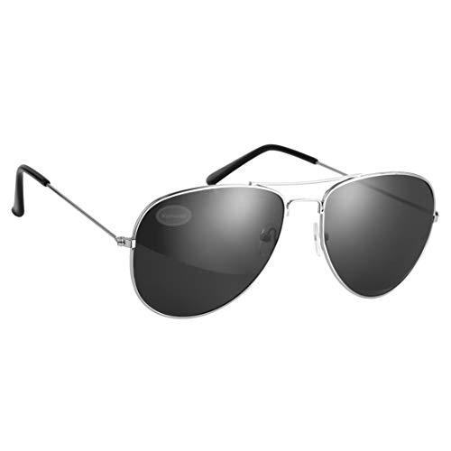 Pilot Style Silver With Black Lens Sunglasses Designer Unisex UV400 Protection Shades