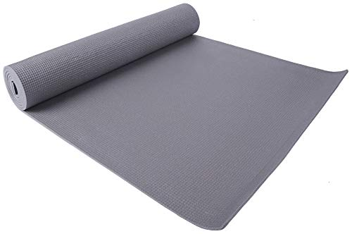 "BalanceFrom GoYoga All Purpose High Density Non-Slip Exercise Yoga Mat with Carrying Strap, 1/4"", Grey"