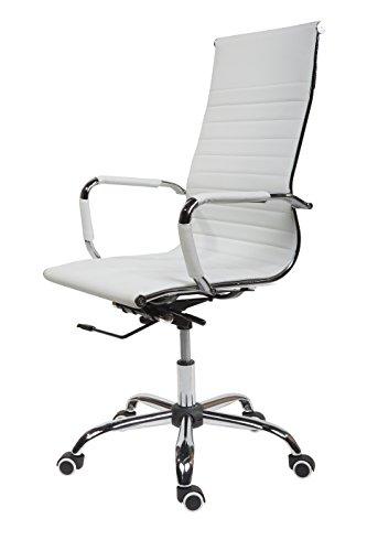 SVITA Design Bürostuhl Chrom Rahmen Elegance Chefsessel Drehstuhl Konferenz-Stuhl (Weiß, Hohe Lehne)