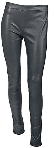 Gipsy G2G Alara SF LNS Mujer Pantalones de Piel Antracita L, 100% Cuero, Pitillo