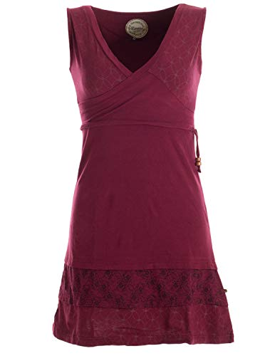 Vishes - Alternative Bekleidung - Kurzes ärmelloses Mini Sommerkleid Bedruckt - Tunika Dunkelrot 38 (M)