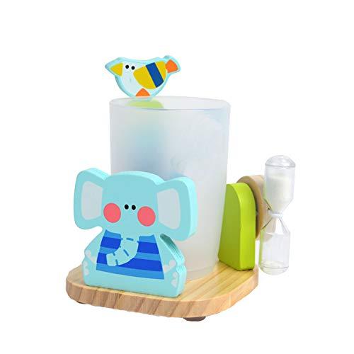 Ouken Kinder Entzückende Zahnpasta Zahnbürstenhalter Standplatz mit Cup und 3 Minuten Sandborduhr Saugfuß aus Holz Badezimmer Aufsatz- Halter für Kinder Multicolor Elefanten Bunte