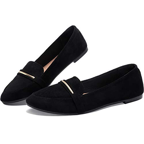 Women's Pointy Toe Loafer Flat Comfortable Faux Suede Work Shoes,Cute Penny Loafer Slip On Ballet Flat(Black US10)